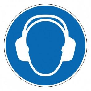 Aufkleber Gebotszeichen Gehörschutz benutzen · ISO 7010 M003