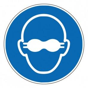 Aufkleber Gebotszeichen Weitgehend lichtundurchlässigen Augenschutz benutzen · ISO 7010 M007