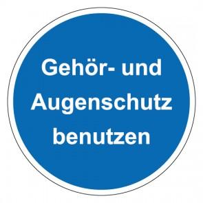 Schild Gebotszeichen rund mit Text Gehör- und Augenschutz benutzen