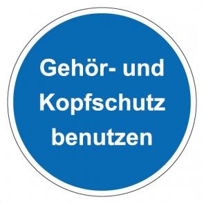 Schild Gebotszeichen rund mit Text Gehör- und Kopfschutz benutzen