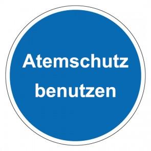 Schild Gebotszeichen rund mit Text Atemschutz benutzen