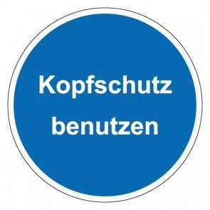 Schild Gebotszeichen rund mit Text Kopfschutz benutzen