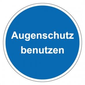 Schild Gebotszeichen rund mit Text Augenschutz benutzen