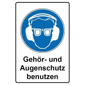 Gebotszeichen Aufkleber rechteckig mit Text deutsch Gehör- und Augenschutz benutzen   stark haftend