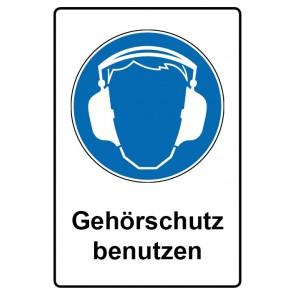 Kombi Aufkleber Gehörschutz benutzen | Gebotszeichen