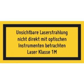 Aufkleber Laserklasse 1M · Unsichtbare Strahlung