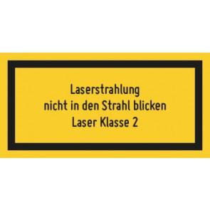 Magnetschild Laserklasse 2 · Laserstrahlung · Nicht in den Strahl blicken