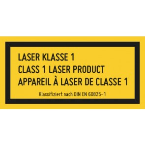 Aufkleber Laserklasse 1 · 3-sprachig · DIN EN 60825-1