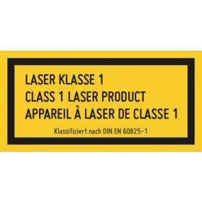 Magnetschild Laserklasse 1 · 3-sprachig · DIN EN 60825-1