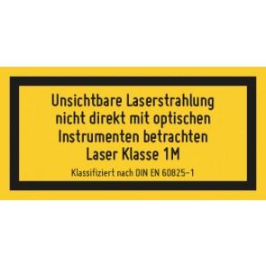 Aufkleber Laserklasse 1M · Unsichtbare Strahlung · DIN EN 60825-1
