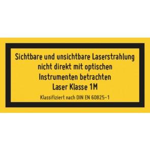 Magnetschild Laserklasse 1M · Sichtbare und unsichtbare Strahlung · DIN EN 60825-1