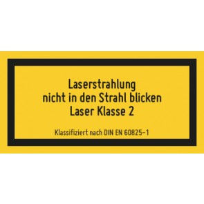 Magnetschild Laserklasse 2 · Laserstrahlung · Nicht in den Strahl blicken · DIN EN 60825-1