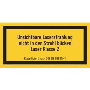 Magnetschild Laserklasse 2 · Unsichtbare Strahlung · DIN EN 60825-1