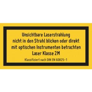 Magnetschild Laserklasse 2M · Unsichtbare Strahlung · DIN EN 60825-1