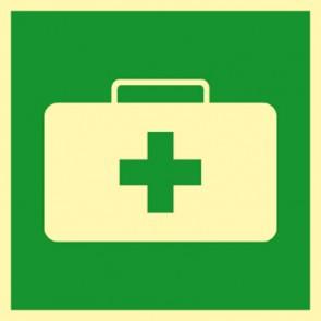 Rettungszeichen Schild Notfallkoffer, Sanitätskoffer · NACHLEUCHTEND