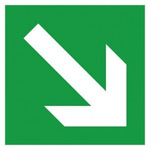 Rettungszeichen Schild Fluchtweg, Pfeil schräg rechts
