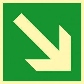 Rettungszeichen Schild Fluchtweg, Pfeil schräg rechts · NACHLEUCHTEND