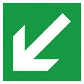 Rettungszeichen Schild Fluchtweg, Pfeil schräg links
