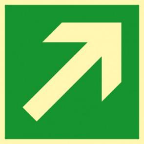 Aufkleber Rettungszeichen Fluchtweg, Pfeil schräg rechts · NACHLEUCHTEND