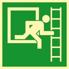 Aufkleber Notausstieg mit Fluchtleiter in Fluchtrichtung rechts · NACHLEUCHTEND