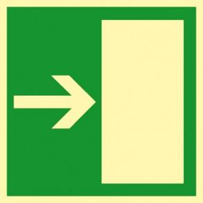 Aufkleber Rettungsweg rechts · NACHLEUCHTEND