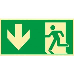 Rettungszeichen Fluchtrichtung Pfeil nach unten · NACHLEUCHTEND · Magnetschild - Magnetfolie