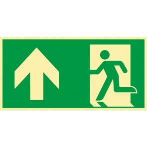 Rettungszeichen Fluchtrichtung Pfeil nach oben · NACHLEUCHTEND · Magnetschild - Magnetfolie