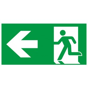 Rettungszeichen Fluchtrichtung Pfeil nach links · Magnetschild - Magnetfolie