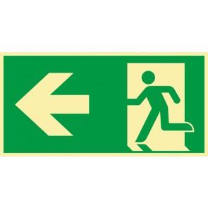 Aufkleber Rettungszeichen Fluchtrichtung Pfeil nach links · NACHLEUCHTEND