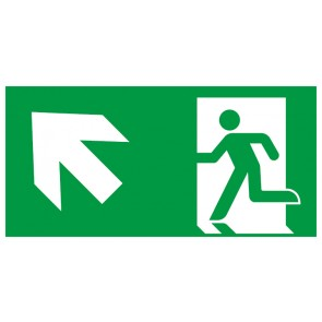 Schild Rettungszeichen Fluchtrichtung Pfeil nach links oben