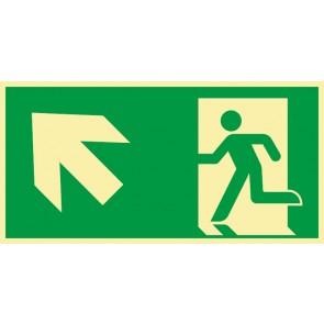 Schild Rettungszeichen Fluchtrichtung Pfeil nach links oben · NACHLEUCHTEND