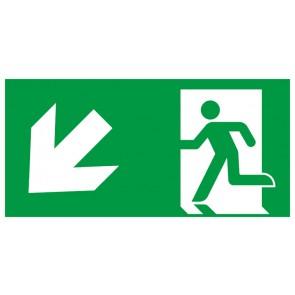 Schild Rettungszeichen Fluchtrichtung Pfeil nach links unten