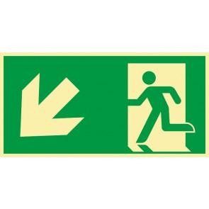 Schild Rettungszeichen Fluchtrichtung Pfeil nach links unten · NACHLEUCHTEND