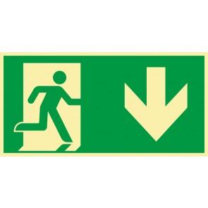 Schild Rettungszeichen Fluchtrichtung Pfeil nach unten · NACHLEUCHTEND