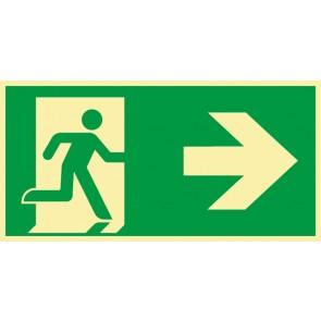 Schild Rettungszeichen Fluchtrichtung Pfeil nach rechts · NACHLEUCHTEND