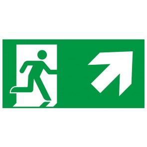 Schild Rettungszeichen Fluchtrichtung Pfeil nach rechts oben