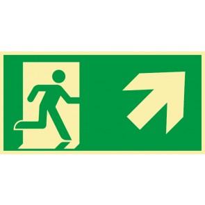 Schild Rettungszeichen Fluchtrichtung Pfeil nach rechts oben · NACHLEUCHTEND