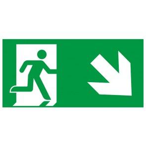 Schild Rettungszeichen Fluchtrichtung Pfeil nach rechts unten