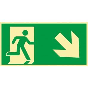 Schild Rettungszeichen Fluchtrichtung Pfeil nach rechts unten · NACHLEUCHTEND