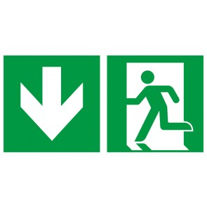 Schild Rettungszeichen Fluchtrichtung Pfeil nach unten