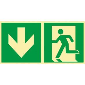Aufkleber Rettungszeichen Fluchtrichtung Pfeil nach unten · NACHLEUCHTEND