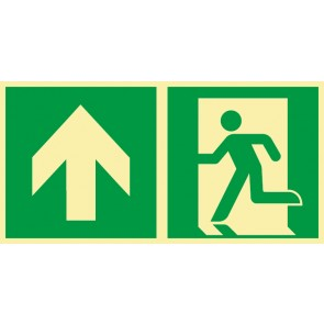 Schild Rettungszeichen Fluchtrichtung Pfeil nach oben · NACHLEUCHTEND