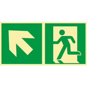 Aufkleber Rettungszeichen Fluchtrichtung Pfeil nach links oben · NACHLEUCHTEND