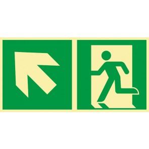 Rettungszeichen Fluchtrichtung Pfeil nach links oben · NACHLEUCHTEND · Magnetschild - Magnetfolie