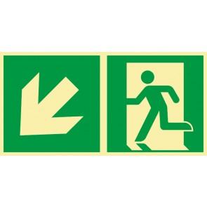 Aufkleber Rettungszeichen Fluchtrichtung Pfeil nach links unten · NACHLEUCHTEND