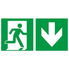 Rettungszeichen Fluchtrichtung Pfeil nach unten · Magnetschild - Magnetfolie