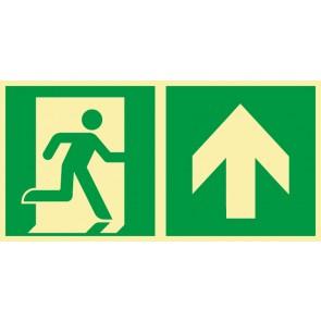 Aufkleber Rettungszeichen Fluchtrichtung Pfeil nach oben · NACHLEUCHTEND