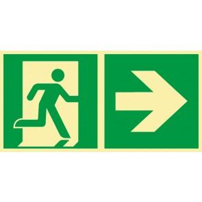 Aufkleber Rettungszeichen Fluchtrichtung Pfeil nach rechts · NACHLEUCHTEND