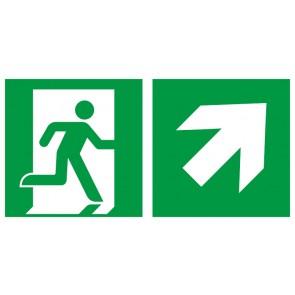 Rettungszeichen Fluchtrichtung Pfeil nach rechts oben · Magnetschild - Magnetfolie