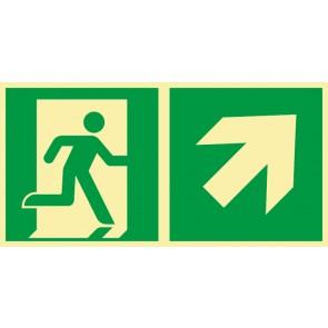 Rettungszeichen Fluchtrichtung Pfeil nach rechts oben · NACHLEUCHTEND · Magnetschild - Magnetfolie